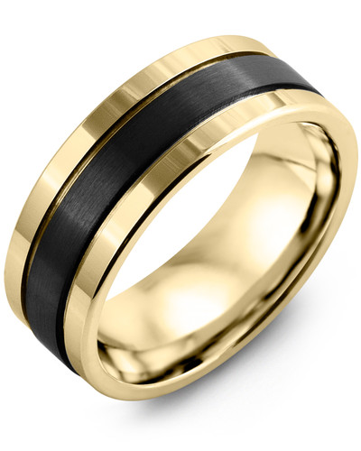 Men's & Women's Yellow Gold & Black Ceramic Wedding Band from MADANI Rings. Wedding bands, fashion rings, promise rings, made of Tungsten, Ceramic, Cobalt, and Gold. View the collection at madanirings.com