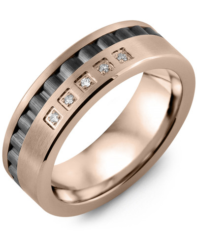 Men's & Women's Rose Gold & Black Ceramic + 5 Diamonds 0.05ct Wedding Band