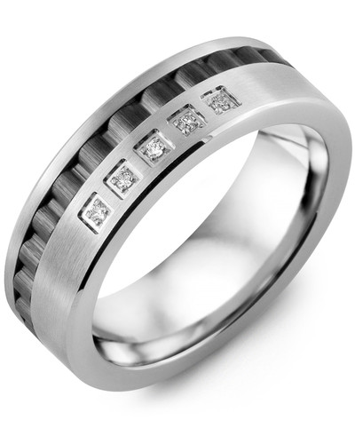 Men's & Women's White Gold & Black Ceramic + 5 Diamonds 0.05ct Wedding Band from MADANI Rings. Wedding bands, fashion rings, promise rings, made of Tungsten, Ceramic, Cobalt, and Gold. View the collection at madanirings.com