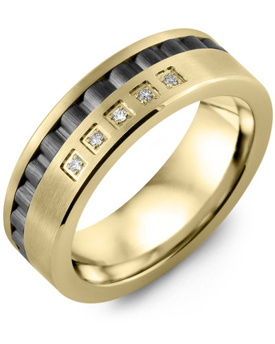 Men's & Women's Yellow Gold & Black Ceramic + 5 Diamonds 0.05ct Wedding Band