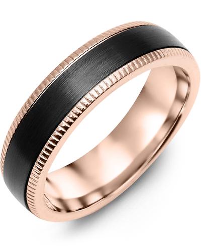 Men's & Women's Rose Gold & Black Ceramic Wedding Band