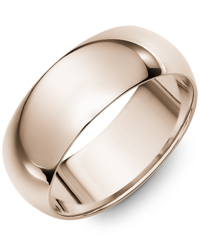 Men's & Women's Dome Rose Gold Wedding Band from MADANI Rings. Wedding bands, fashion rings, promise rings, made of Tungsten, Ceramic, Cobalt, and Gold. View the collection at madanirings.com