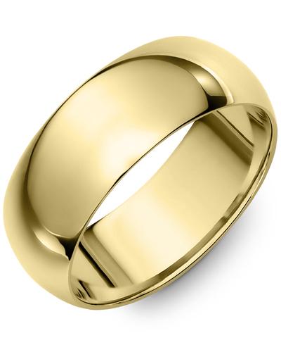 Men's & Women's Dome Yellow Gold Wedding Band