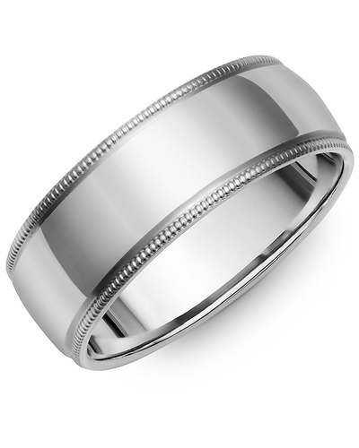 Men's & Women's Dome White Gold Wedding Band from MADANI Rings. Wedding bands, fashion rings, promise rings, made of Tungsten, Ceramic, Cobalt, and Gold. View the collection at madanirings.com