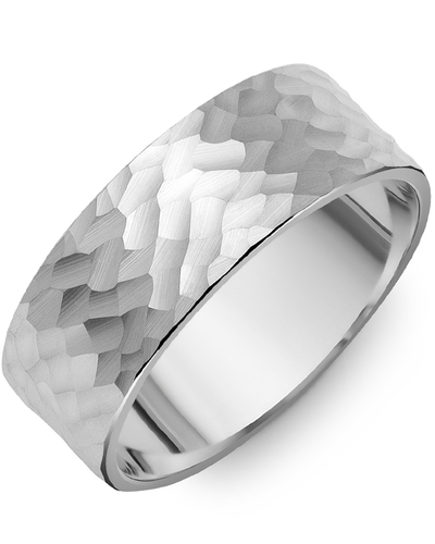 Men's & Women's Flat White Gold Wedding Band