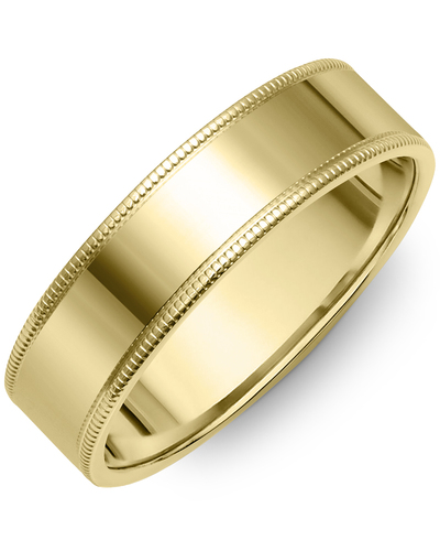Men's & Women's Flat Yellow Gold Wedding Band