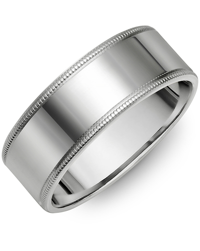Men's & Women's Flat White Gold Wedding Band from MADANI Rings. Wedding bands, fashion rings, promise rings, made of Tungsten, Ceramic, Cobalt, and Gold. View the collection at madanirings.com