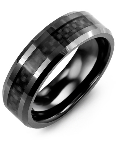 Men's & Women's Black Ceramic & Carbon Fiber Wedding Band