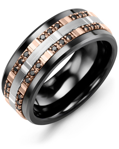 Men's & Women's Black Ceramic & Rose/White Gold + 24 Black Diamonds 0.24ct Wedding Band