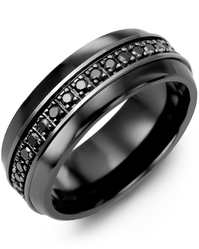 Men's & Women's Black Ceramic Half Round & Black Gold + 17 Black Diamonds 0.34ct Wedding Band