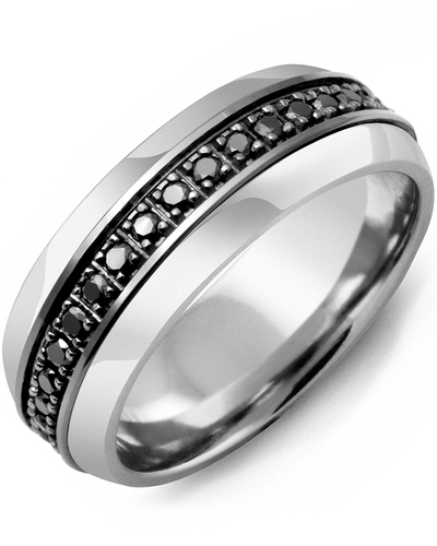 Men's & Women's Tungsten Half Round & Black Gold + 17 Black Diamonds 0.34ct Wedding Band