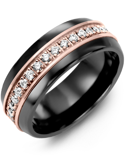 Men's & Women's Black Ceramic Half Round & Rose Gold + 17 Diamonds 0.34ct Wedding Band
