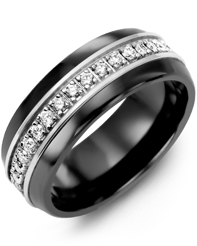 Men's & Women's Black Ceramic Half Round & White Gold + 17 Diamonds 0.34ct Wedding Band
