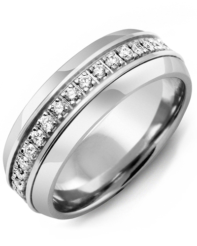 Men's & Women's Cobalt Half Round & White Gold + 17 Diamonds 0.34ct Wedding Band