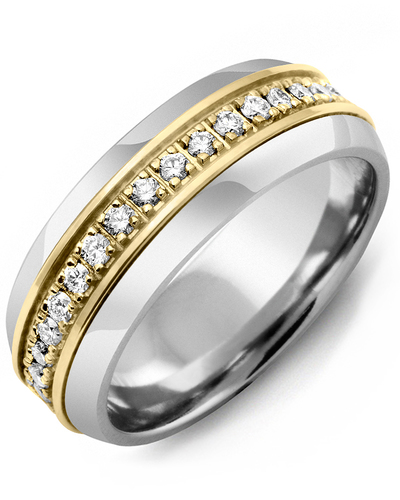 Men's & Women's Cobalt Half Round & Yellow Gold + 17 Diamonds 0.34ct Wedding Band