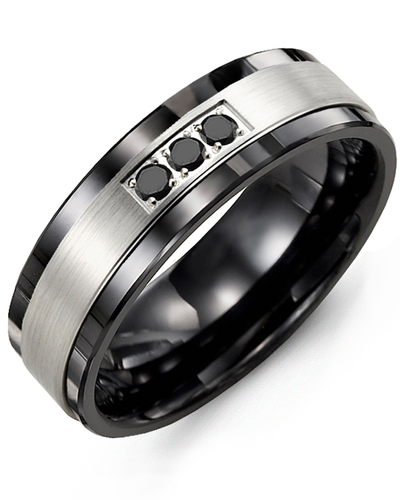 Men's & Women's Black Ceramic & White Gold + 3 Black Diamonds 0.06ct Wedding Band