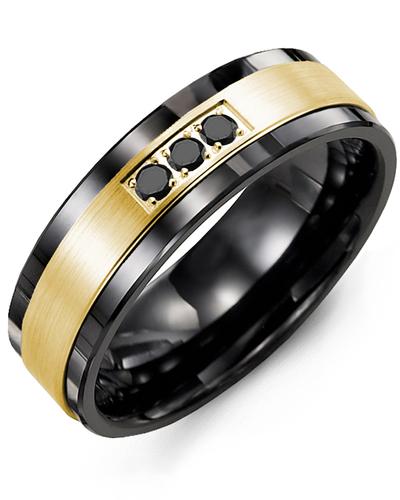 Men's & Women's Black Ceramic & Yellow Gold + 3 Black Diamonds 0.06ct Wedding Band