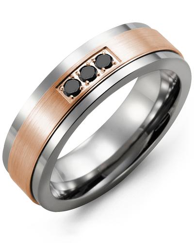 Men's & Women's Tungsten & Rose Gold + 3 Black Diamonds 0.06ct Wedding Band