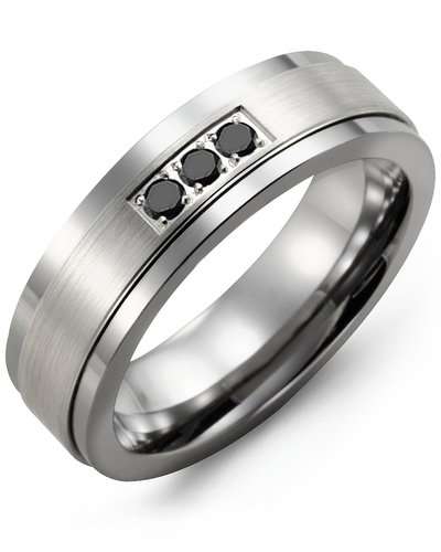 Men's & Women's Tungsten & White Gold + 3 Black Diamonds 0.06ct Wedding Band