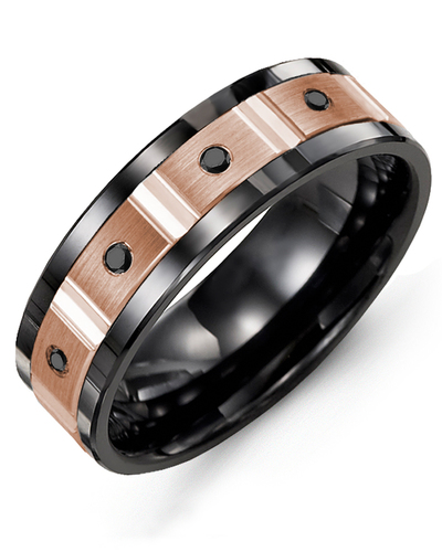 Men's & Women's Black Ceramic & Rose Gold + 4 Black Diamonds 0.08ct Wedding Band