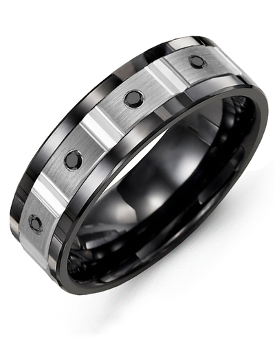 Men's & Women's Black Ceramic & White Gold + 4 Black Diamonds 0.08ct Wedding Band