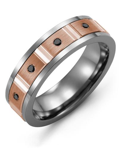 Men's & Women's Cobalt & Rose Gold + 4 Black Diamonds 0.08ct Wedding Band