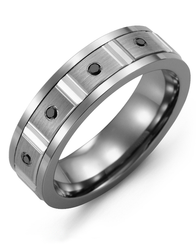 Men's & Women's Cobalt & White Gold + 4 Black Diamonds 0.08ct Wedding Band