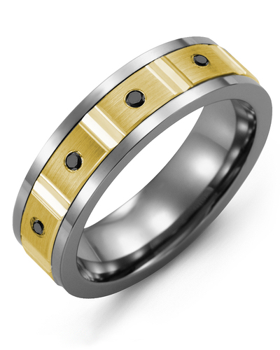 Men's & Women's Cobalt & Yellow Gold + 4 Black Diamonds 0.08ct Wedding Band