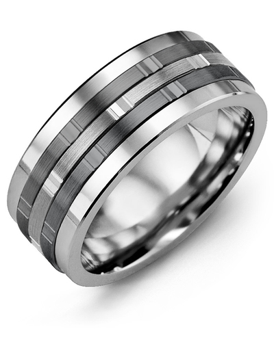 Men's Faceted Black Wedding Band