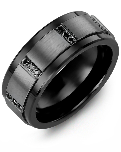 Men's & Women's Black Ceramic & Black Gold + 12 Black Diamonds 0.12ct Wedding Band