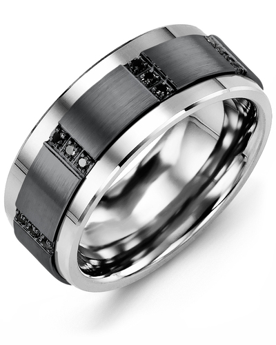 Men's & Women's Cobalt & Black Gold + 12 Black Diamonds 0.12ct Wedding Band