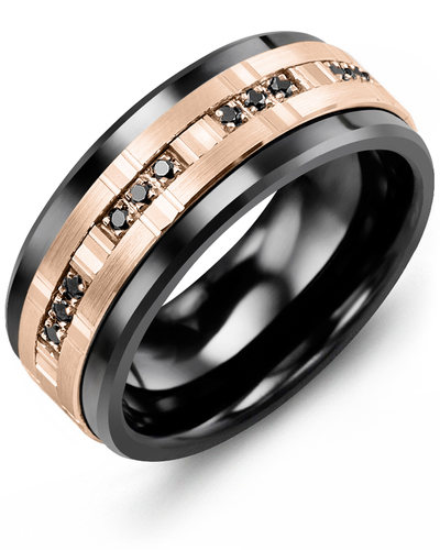 Men's & Women's Black Ceramic & Rose Gold + 12 Black Diamonds 0.12ct Wedding Band