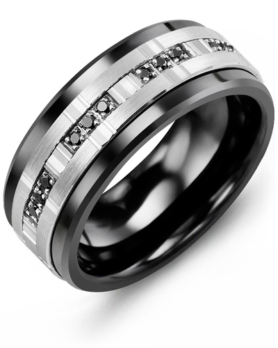 Men's & Women's Black Ceramic & White Gold + 12 Black Diamonds 0.12ct Wedding Band