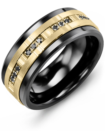 Men's & Women's Black Ceramic & Yellow Gold + 12 Black Diamonds 0.12ct Wedding Band from MADANI Rings. Wedding bands, fashion rings, promise rings, made of Tungsten, Ceramic, Cobalt, and Gold. View the collection at madanirings.com