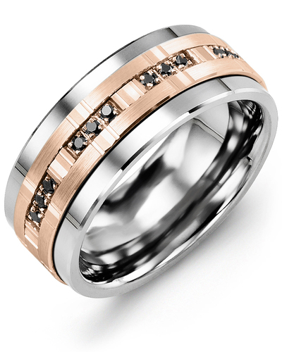 Men's & Women's Cobalt & Rose Gold + 12 Black Diamonds 0.12ct Wedding Band