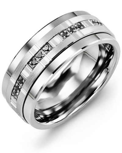 Men's & Women's Cobalt & White Gold + 12 Black Diamonds 0.12ct Wedding Band