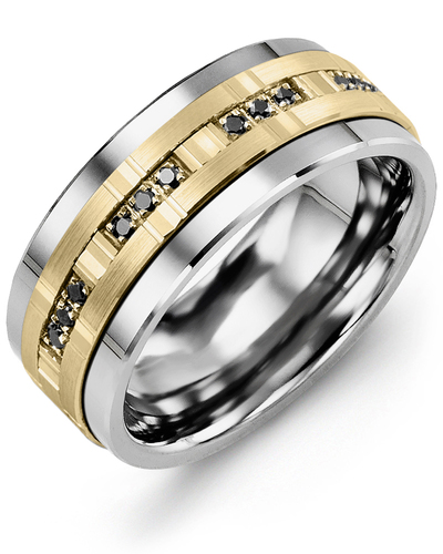 Men's & Women's Cobalt & Yellow Gold + 12 Black Diamonds 0.12ct Wedding Band