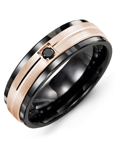 Men's & Women's Black Ceramic & Rose Gold + 1 Black Diamond 0.05ct Wedding Band