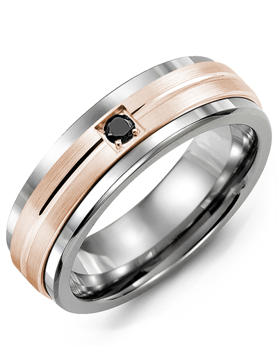 Men's & Women's Tungsten & Rose Gold + 1 Black Diamond 0.05ct Wedding Band