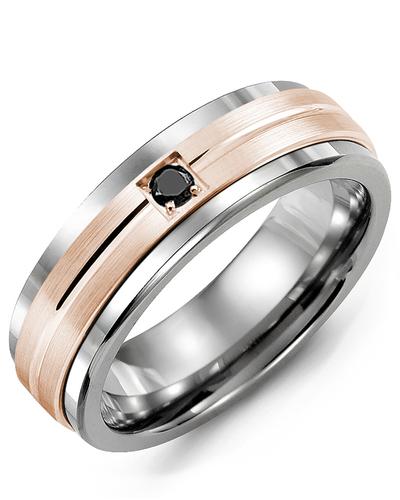 Men's & Women's Tungsten & Rose Gold + 1 Black Diamond 0.05ct Wedding Band