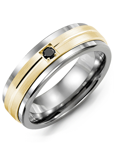 Men's & Women's Tungsten & Yellow Gold + 1 Black Diamond 0.05ct Wedding Band