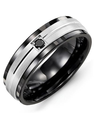 Men's & Women's Black Ceramic & White Gold + 1 Black Diamond 0.05ct Wedding Band