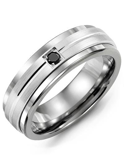 Men's & Women's Tungsten & White Gold + 1 Black Diamond 0.05ct Wedding Band