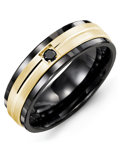 Men's & Women's Black Ceramic & Yellow Gold + 1 Black Diamond 0.05ct Wedding Band