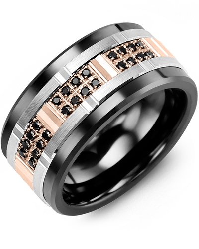 Men's & Women's Black Ceramic & White/Rose Gold + 24 Black Diamonds 0.24ct Wedding Band