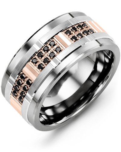 Men's & Women's Tungsten & White/Rose Gold + 24 Black Diamonds 0.24ct Wedding Band