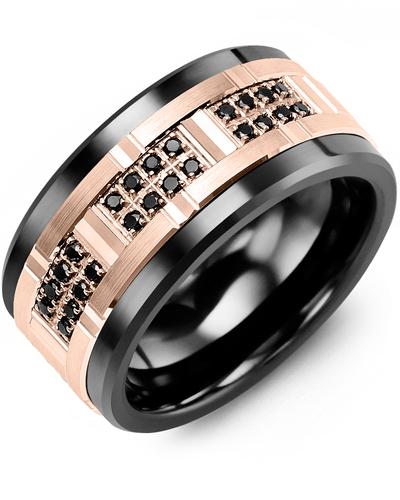 Men's & Women's Black Ceramic & Rose Gold + 24 Black Diamonds 0.24ct Wedding Band