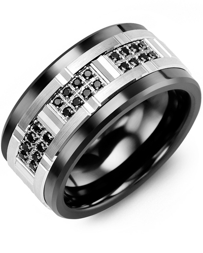Men's & Women's Black Ceramic & White Gold + 24 Black Diamonds 0.24ct Wedding Band