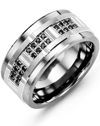 Men's & Women's Cobalt & White Gold + 24 Black Diamonds 0.24ct Wedding Band