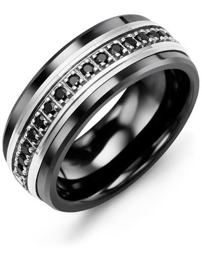 Men's & Women's Black Ceramic & White Gold + 17 Black Diamonds 0.34ct Wedding Band
